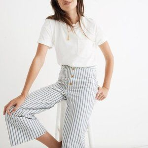 Madewell Emmett Wide-Leg Crop Pants Stripe Button
